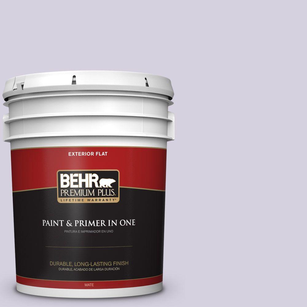 BEHR Premium Plus 5-gal. #650E-2 Lovely Lavender Flat Exterior Paint