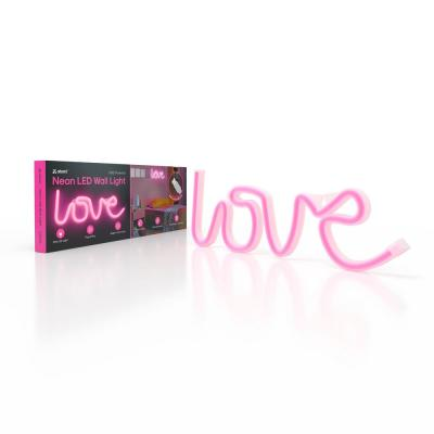 5.375 in. Pink Love Neon LED Light USB-Powered Lighted Indoor Wall Art