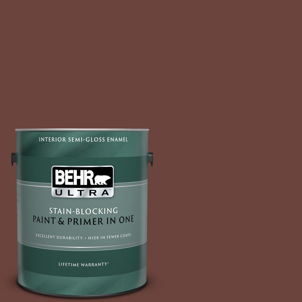Behr Ultra 1 Gal S G 750 Chocolate Sprinkle Semi Gloss Enamel Interior Paint And Primer In One 375301 The Home Depot
