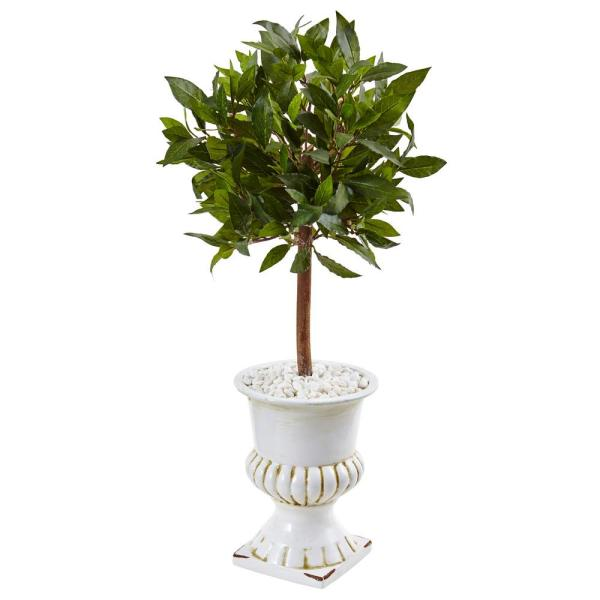 Indoor Sweet Bay Mini Topiary Artificial Tree in White Urn