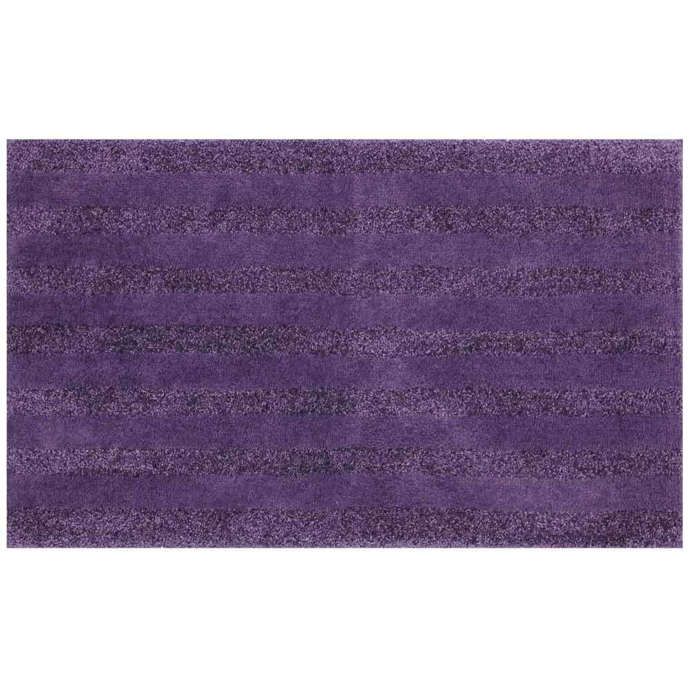 Basic Stripe Twilight Purple 20 in. x 34 in. Nylon Machine Washable Bath Mat