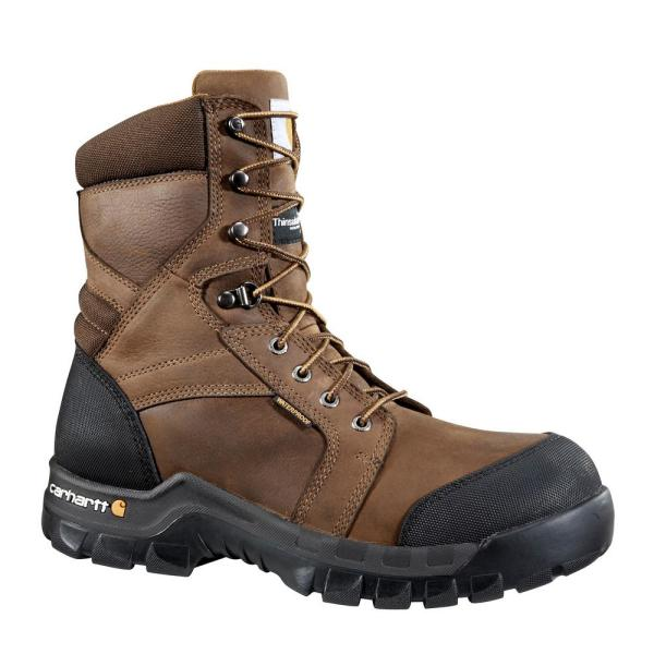 Carhartt Men S Rugged Flex Waterproof 8 Work Boots Composite Toe Brown Size 14 M Cmf8389 14m The Home Depot