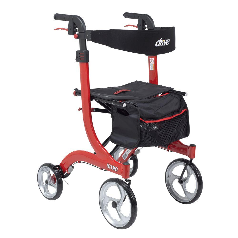 Drive Medical Nitro Euro Style Walker Rollator, Tall, Red Rtl10266-t