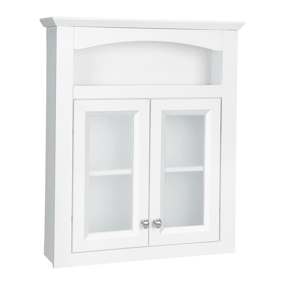 Bathroom storage wall cabinet - Glacier Bay Modular 24 3 5 In W X 29 In H X 6 9 10 In D Bathroom Storage Wall Cabinet With Frosted Glass In White Ttdecfg Wht The Home Depot