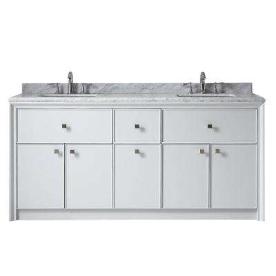 Parrish 72 in. W x 22 in. D Double Bath Vanity in Dove Grey with Marble Top in Grey/White