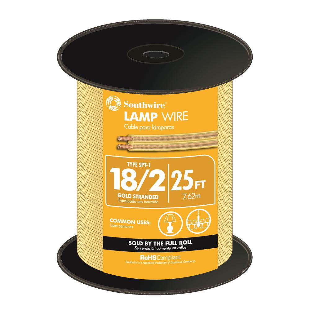 Southwire 25 ft. 18/2 Gold Stranded CU SPT-1 Lamp Wire