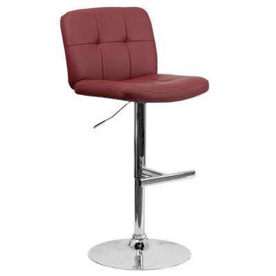 34 in. Adjustable Height Burgundy Cushioned Bar Stool