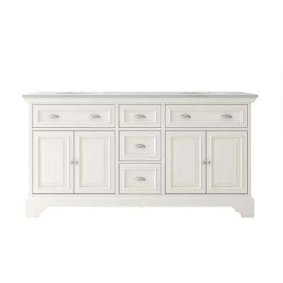Sadie 67 in. W x 21.5 in. D Vanity in Matte Pearl with Marble Vanity Top in Natural White with White Sink