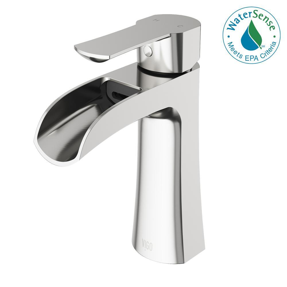 VIGO Paloma Single Hole Single-Handle Bathroom Faucet in Brushed ...