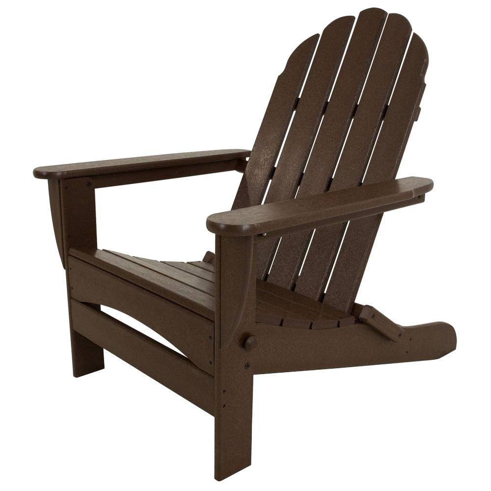 Classic Mahogany Oversized Curveback Plastic Patio Adirondack Chair