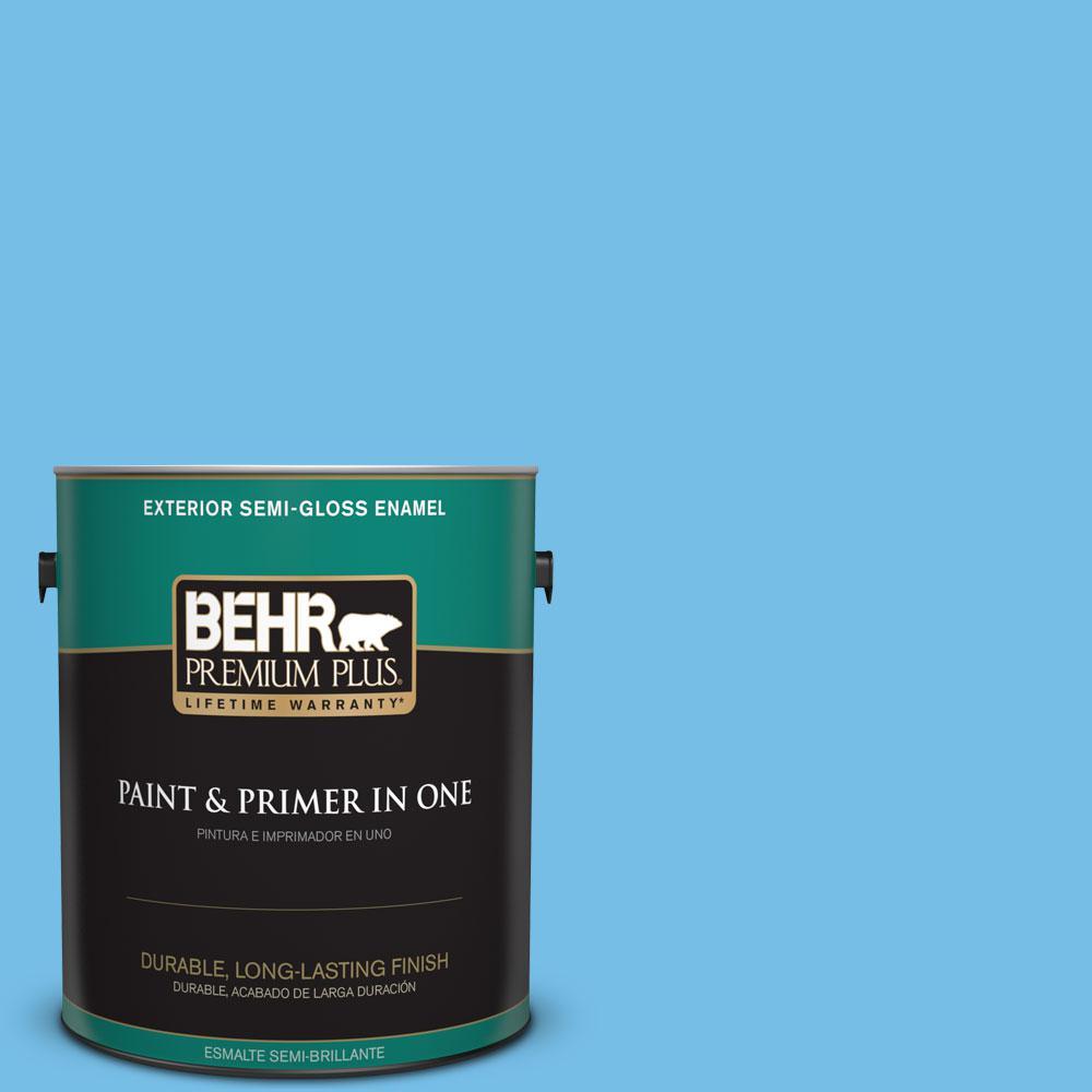 1-gal. #550B-4 Costa Rica Blue Semi-Gloss Enamel Exterior Paint