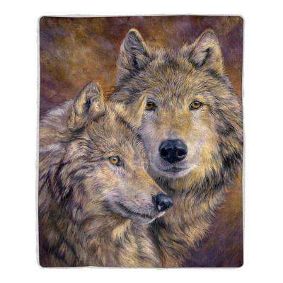 Wolf Print Sherpa Fleece Blanket