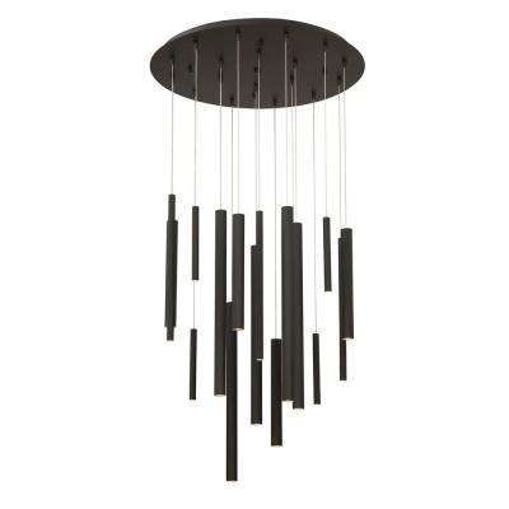 Santana Collection 18-Watt Black Integrated LED Chandelier
