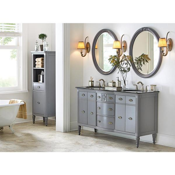 Home Decorators Collection Wellington 61 In W X 22 In D Double Bath Vanity In Worn Grey With Granite Vanity Top In Black 13097 Vs61a Db The Home Depot
