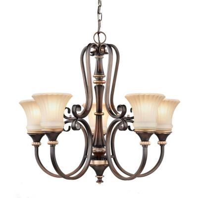Reims 5-Light Berre Walnut Chandelier with Driftwood Glass Shades