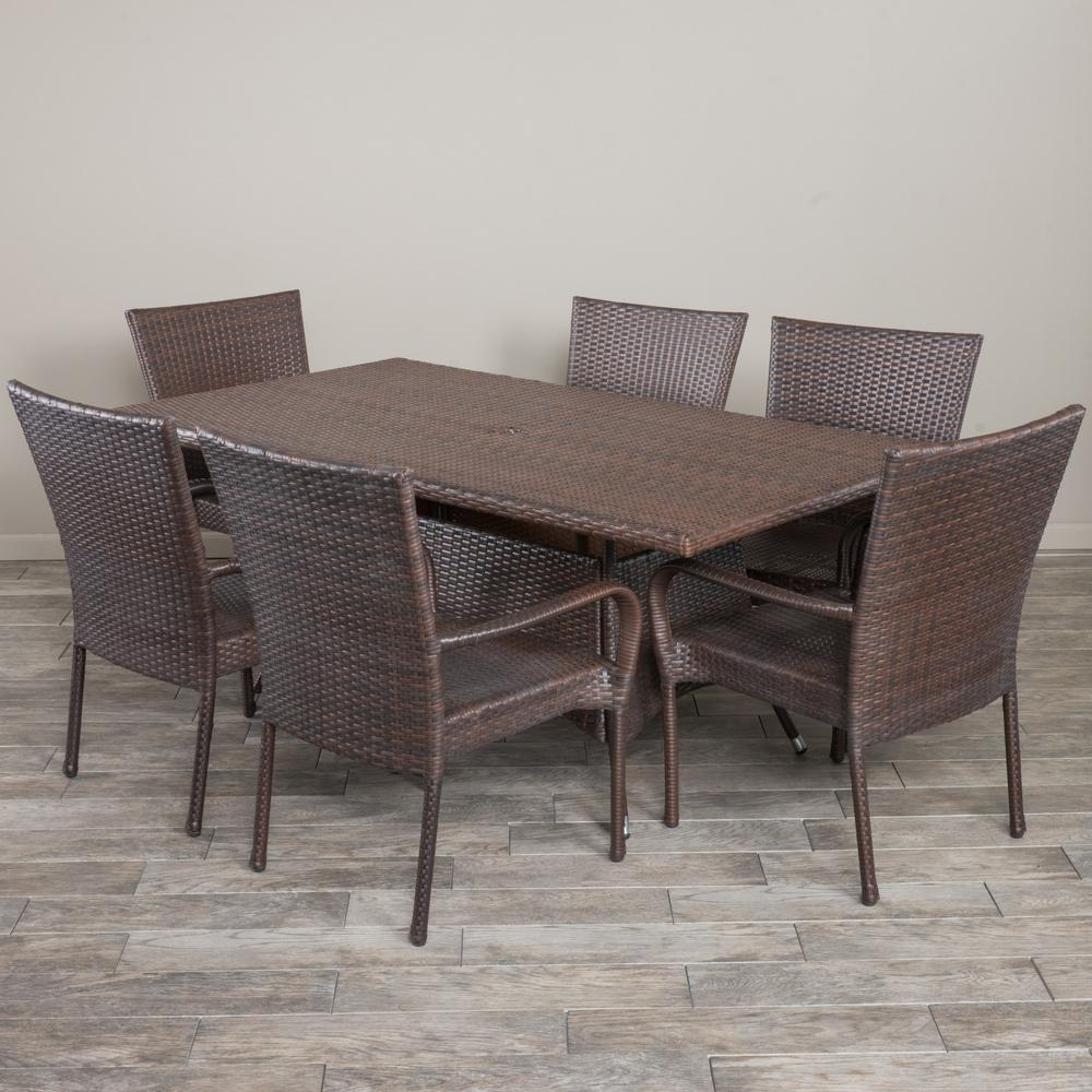 Noble House Averie Multi Brown 7 Piece Wicker Outdoor