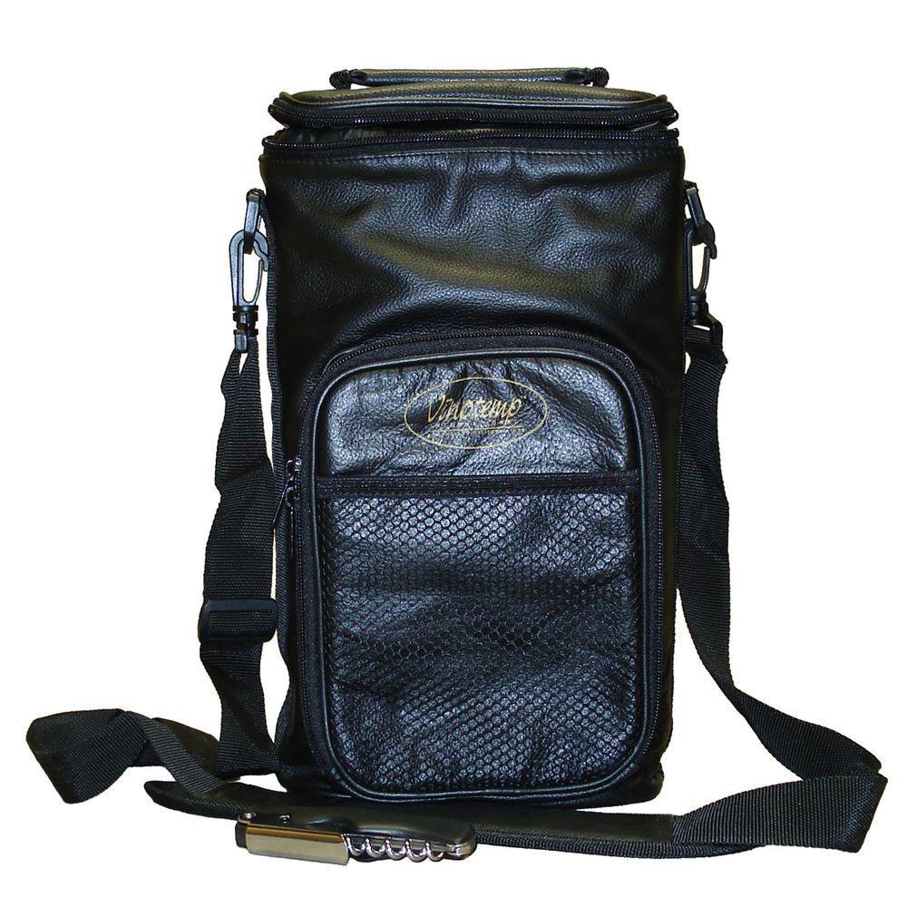 2 Bottle Leather Wine Carrier Bag