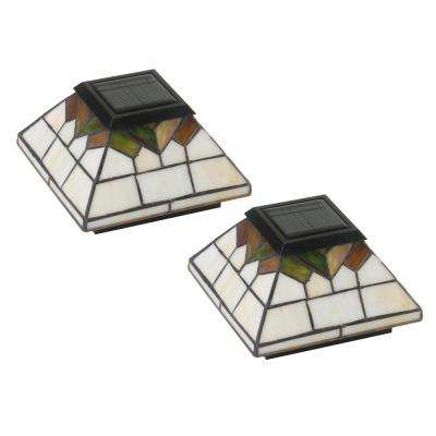 Wellington 5 in. x 5 in.  4-LED Outdoor PVC Stained Glass Integrated LED Solar Post Cap (2-Pack)