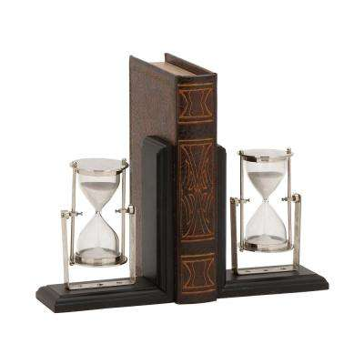 6 in. x 7 in. Aluminum and Wood Hourglass Bookends (2-Pack)