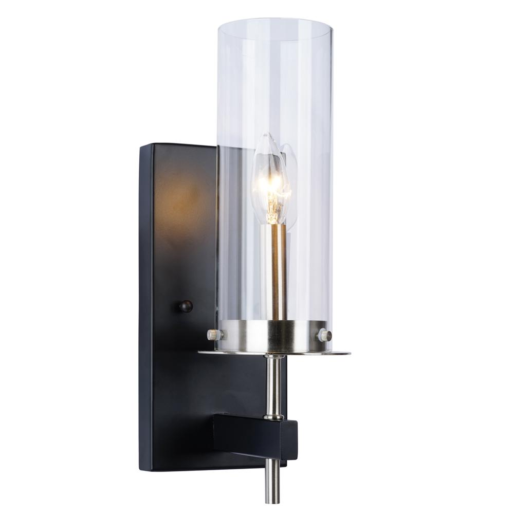 Black sconces lighting the home depot 1 light black and nickel wall sconce aloadofball Images