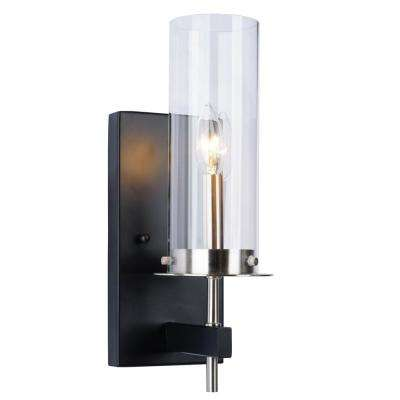 1-Light Black and Nickel Wall Sconce