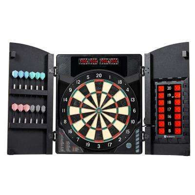 BristleSmart Dartboard with Cabinet - Accepts Steel or Soft Tip Darts