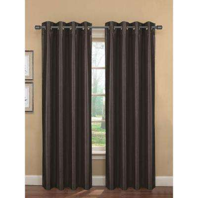 Semi-Opaque Bliss Faux Silk Room Darkening Grommet Curtain Panel, 76 in. W x 84 in. L (1 Pair)