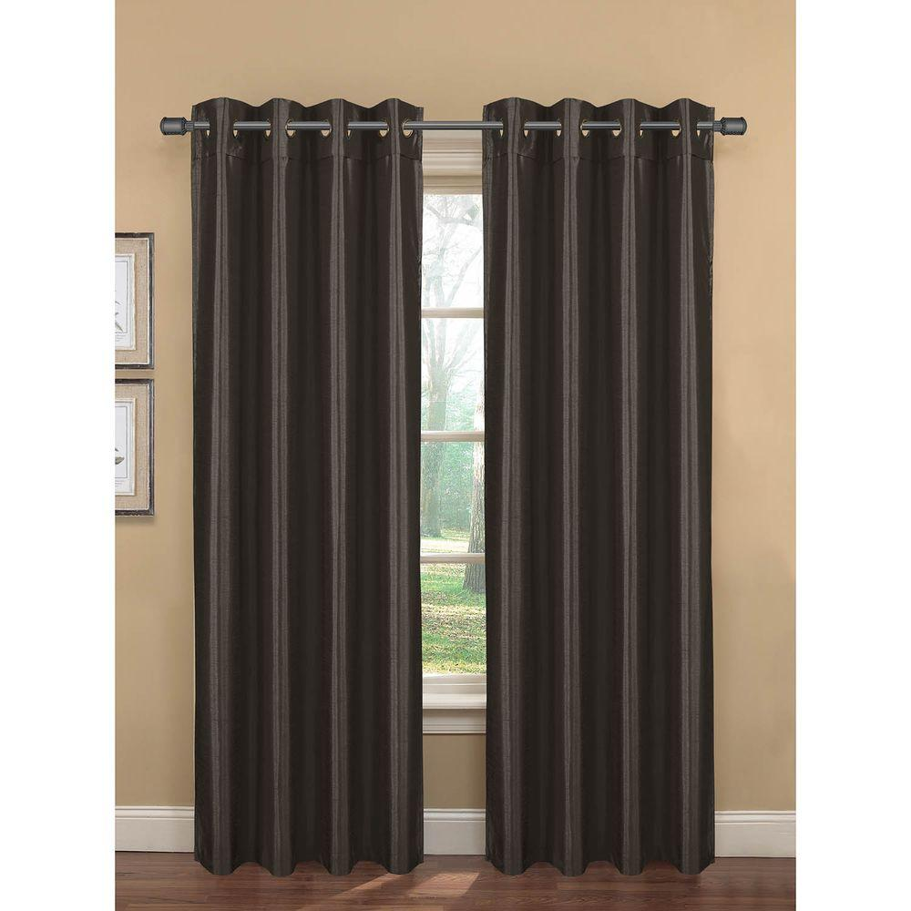Bella Luna Semi-Opaque Bliss Faux Silk 84 in. L Room Darkening Grommet Curtain Panel Pair, Charcoal (Set of 2)