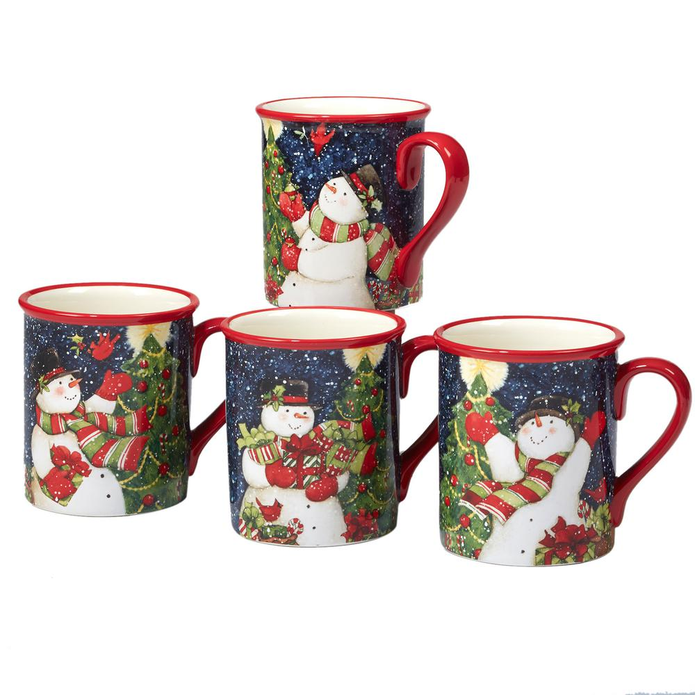 Starry Night Snowman by Susan Winget 18 oz. Mug (Set of