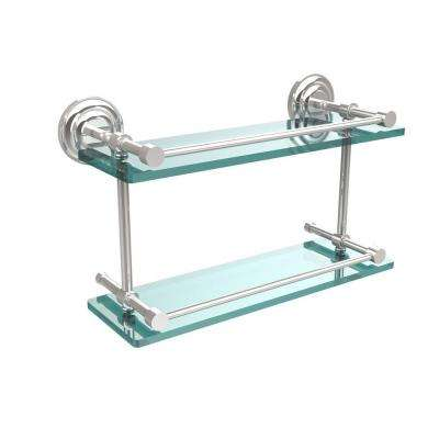 Que New 16 in. L x 8 in. H x 5 in. W 2-Tier Clear Glass Bathroom Shelf with Gallery Rail in Polished Chrome