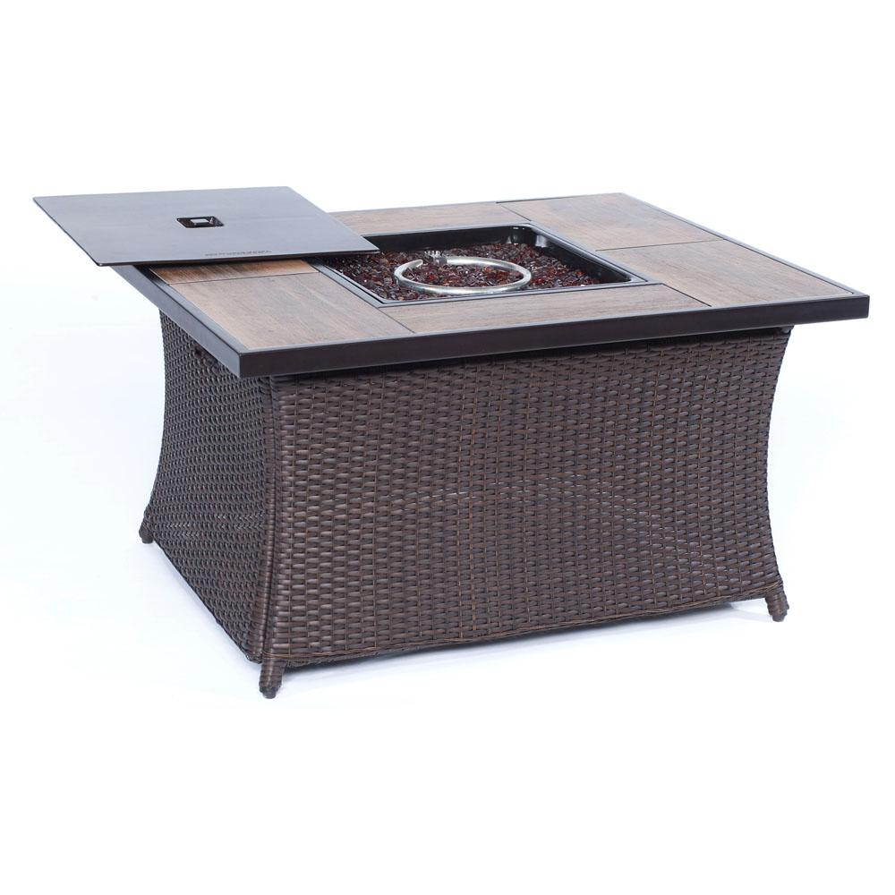 9.8 in. Aluminum Fire Pit in Woven Brown Wicker with Wood