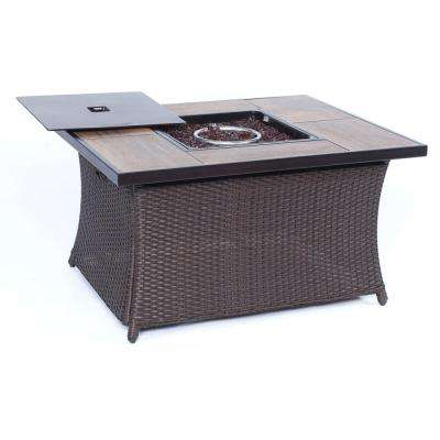 9.8 in. Aluminum Fire Pit in Woven Brown Wicker with Wood Grain Tile Top