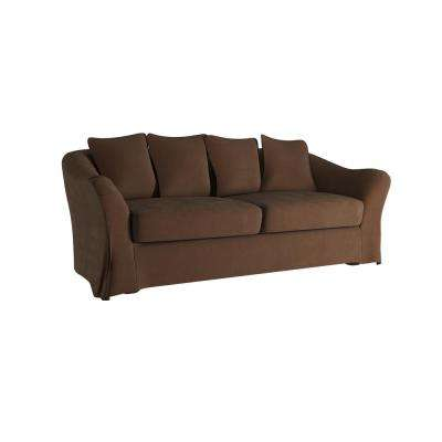 Sydney 1-Piece Brown Down-Filled Slipcovered Sofa