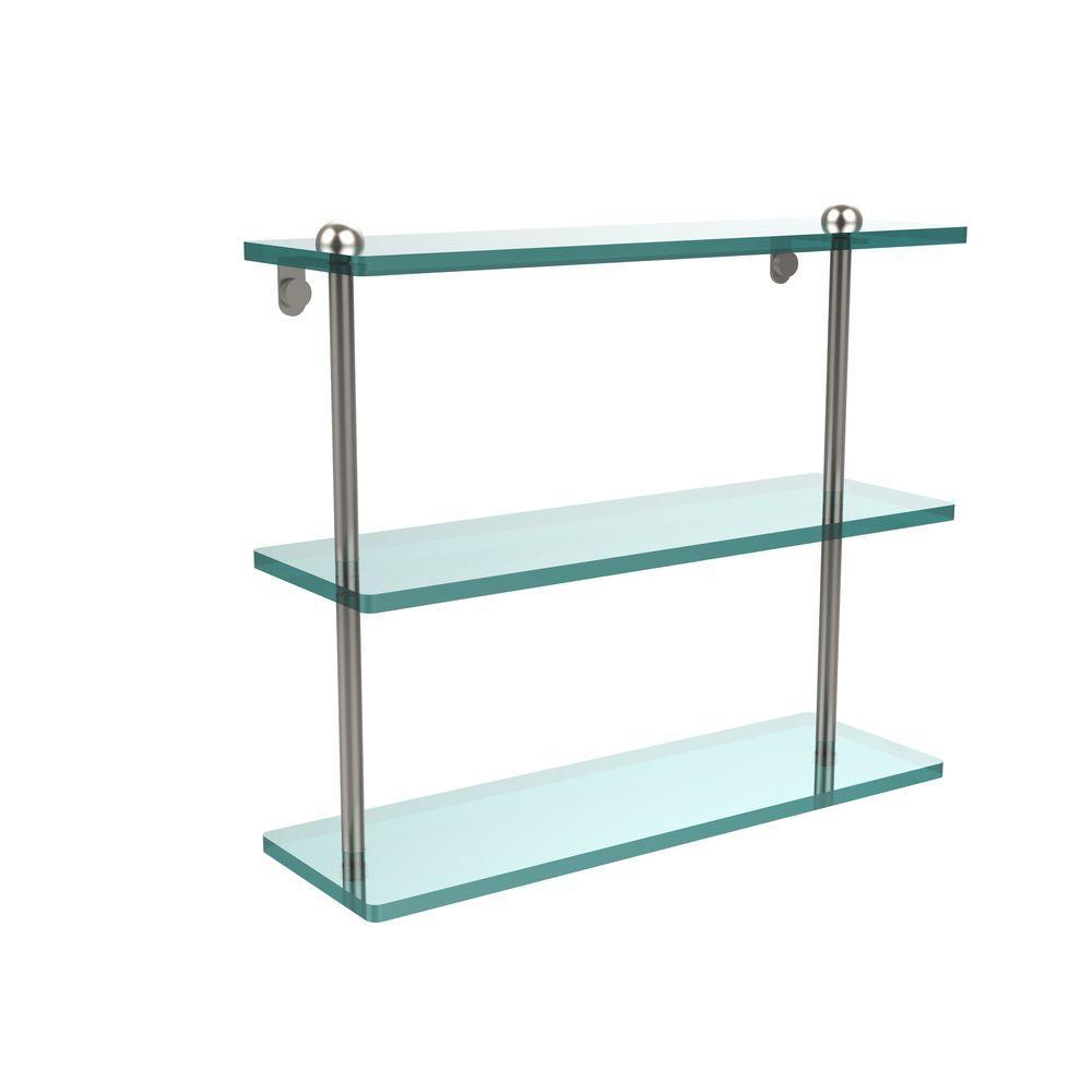 16 in. L x 15 in. H x 5 in. W 3-Tier Clear Glass Bathroom Shelf in Satin Nickel