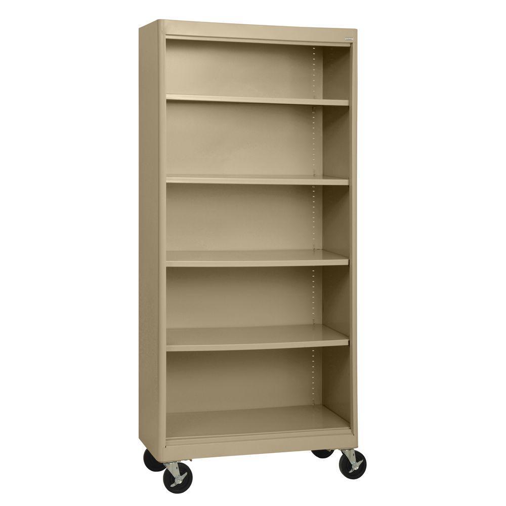 null Radius Edge Tropic Sand Mobile Steel Bookcase