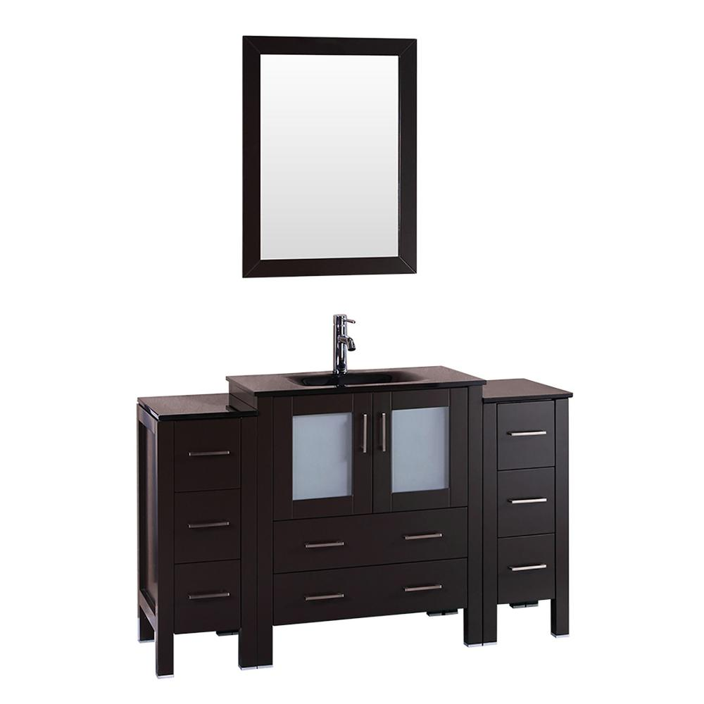 Bosconi 54 in. W Single Bath Vanity with Tempered Glass Vanity Top in Black with Black Basin and Mirror