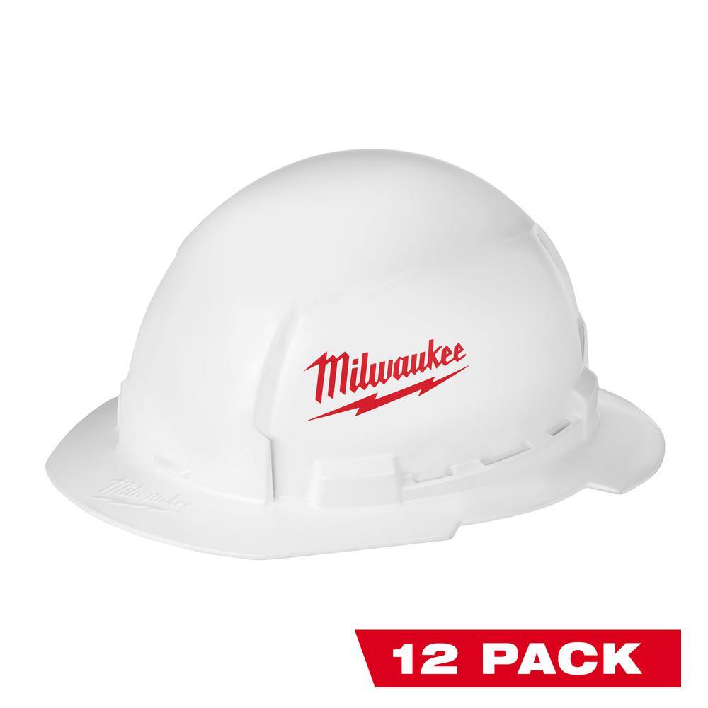 BOLT White Type 1 Class E Full Brim Hard Hat (12-Pack)