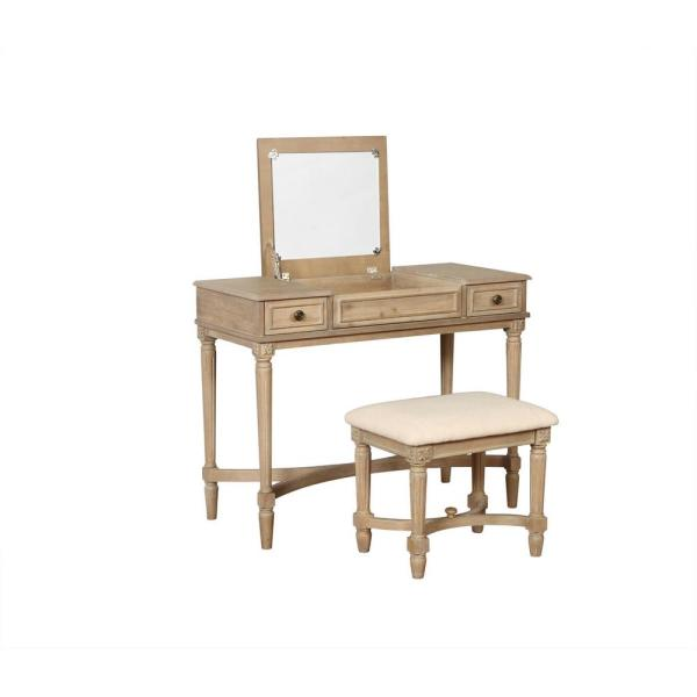 Linon Home Decor Kylie 2-Piece Gray Wash Wodden Vanity Set