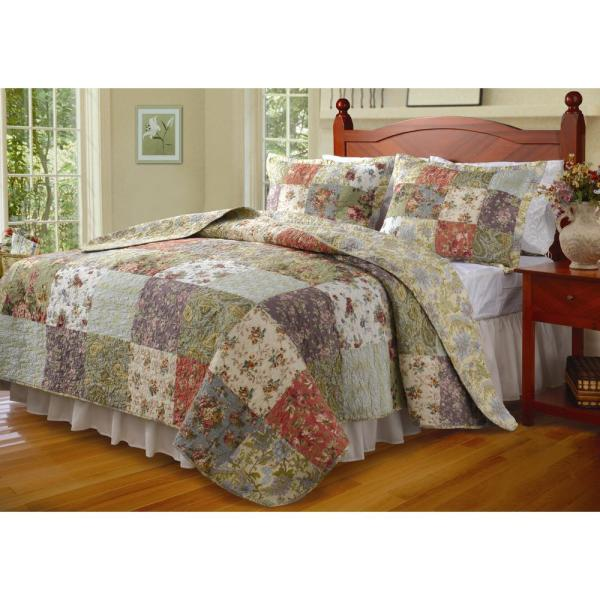 Greenland Home Fashions Blooming Prairie 3-Piece Multi Full and Queen Quilt