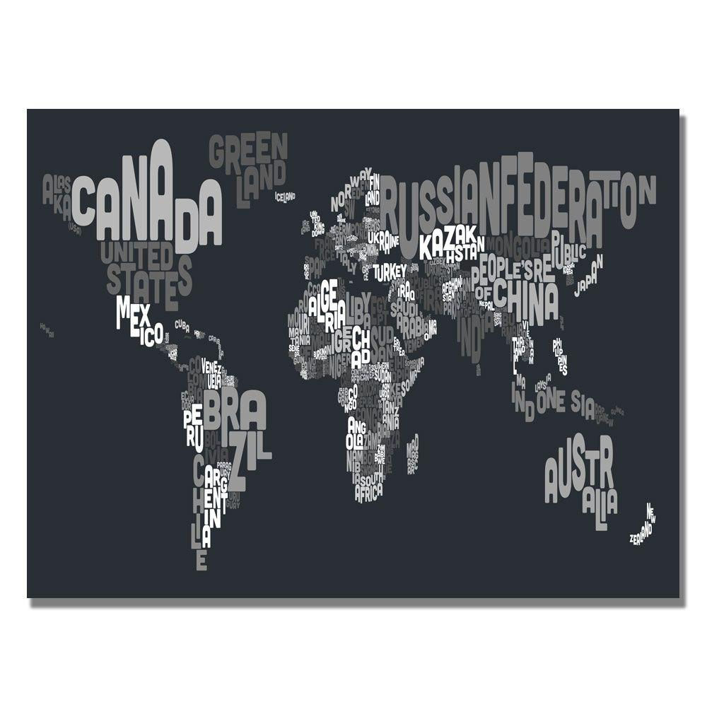 null 30 in. x 47 in. Font World Map VII Canvas Art
