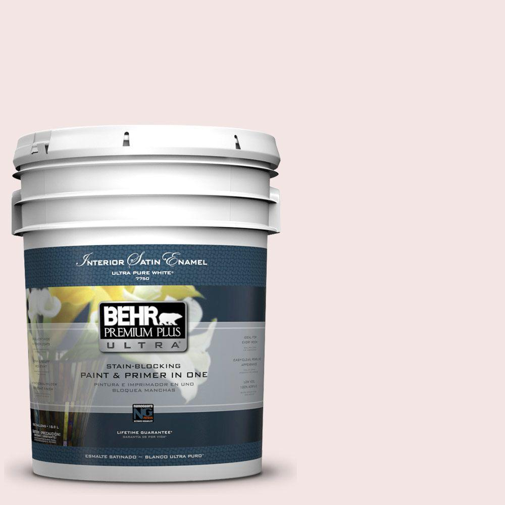 BEHR Premium Plus Ultra 5 gal. #170E-1 Reverie Pink Satin Enamel Interior Paint and Primer in One