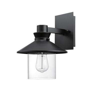 Westminster 1-Light Black Outdoor Indoor Wall Mount Sconce with Clear Glass Shade