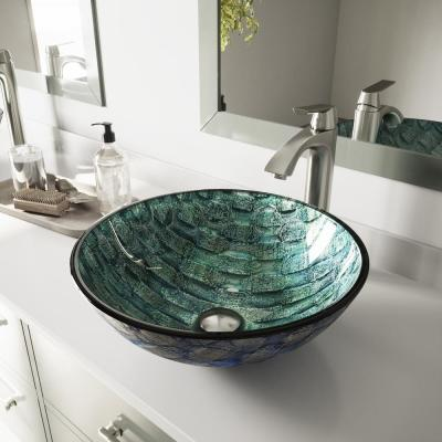 Glass Round Vessel Bathroom Sink in Oceania Blue with Linus Faucet and Pop-Up Drain in Brushed Nickel