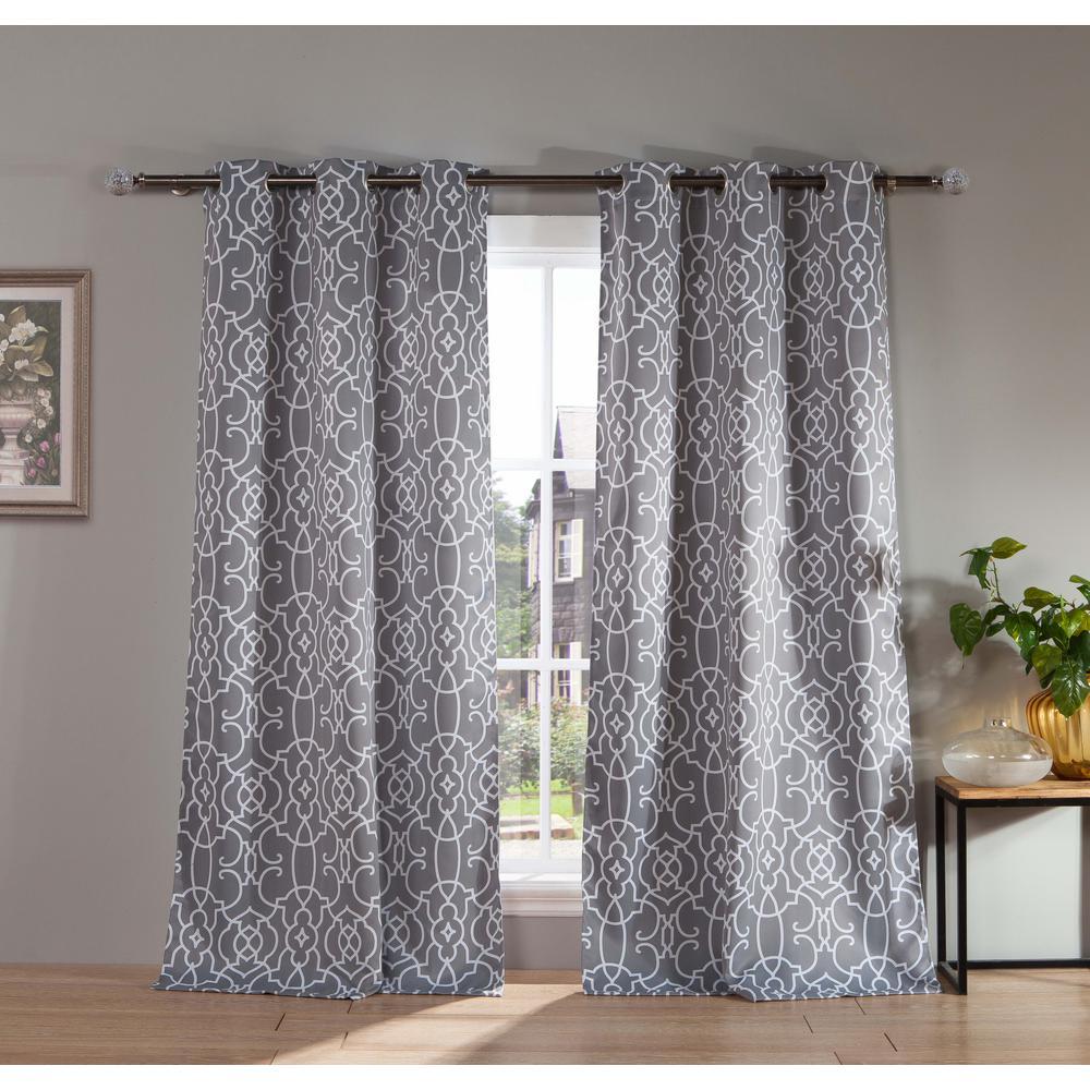 Geometric Grey Polyester Blackout Grommet Window Curtain 38 in. W x 112 in. L (2-Pack)