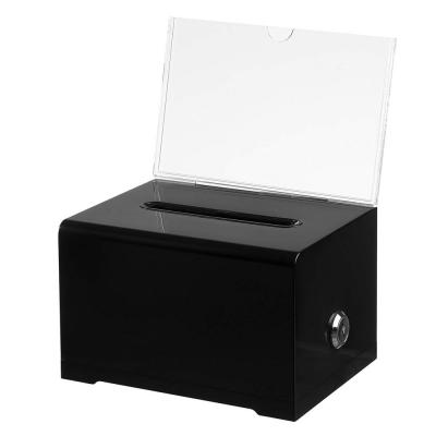 Acrylic Locking Suggestion Box, Black