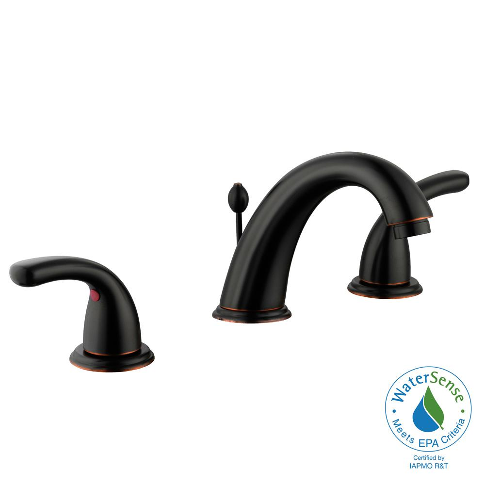 Builders 8 in. Widespread 2-Handle High-Arc Bathroom Faucet in Bronze