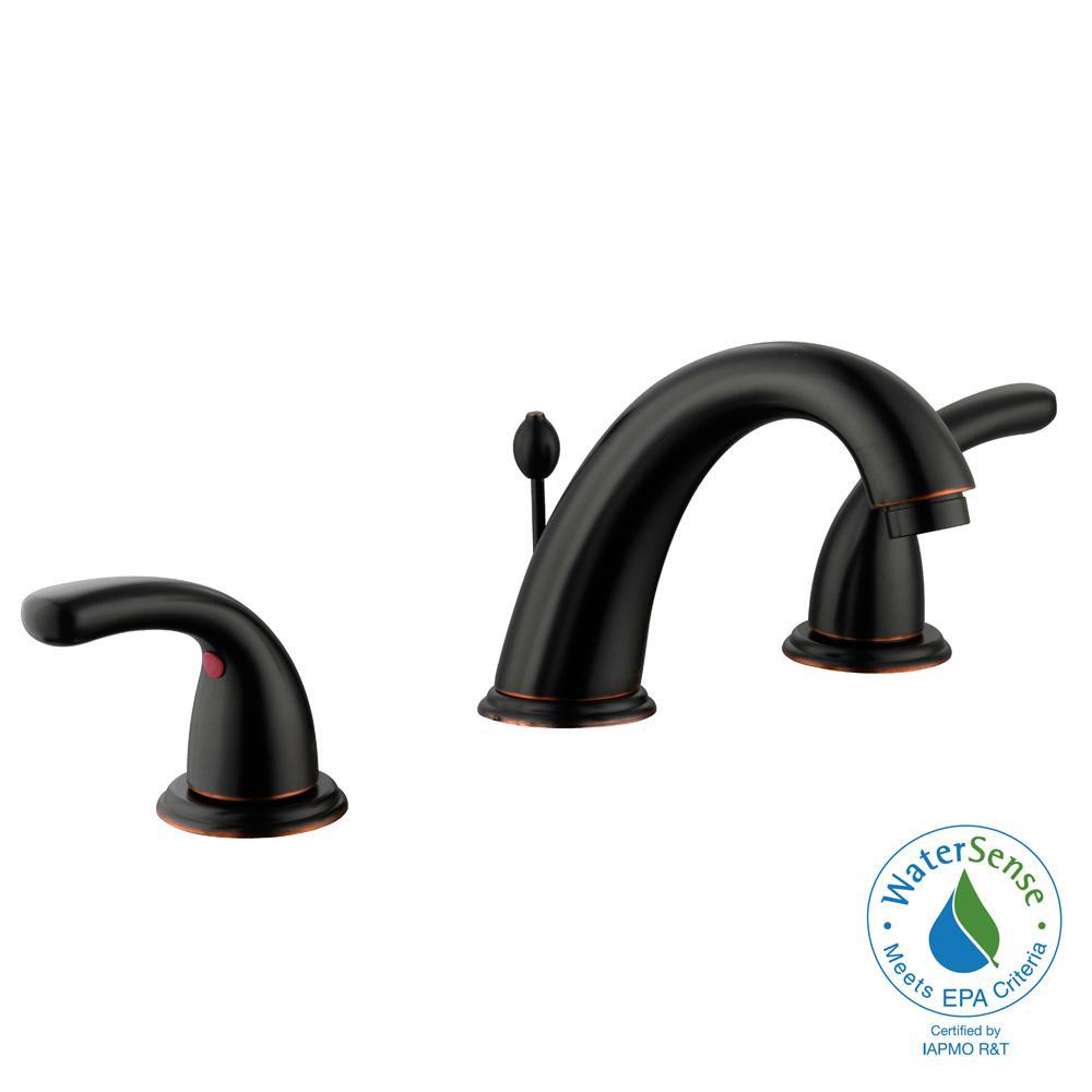 Builders 8 in. Widespread 2-Handle High-Arc Bathroom Faucet in Bronze