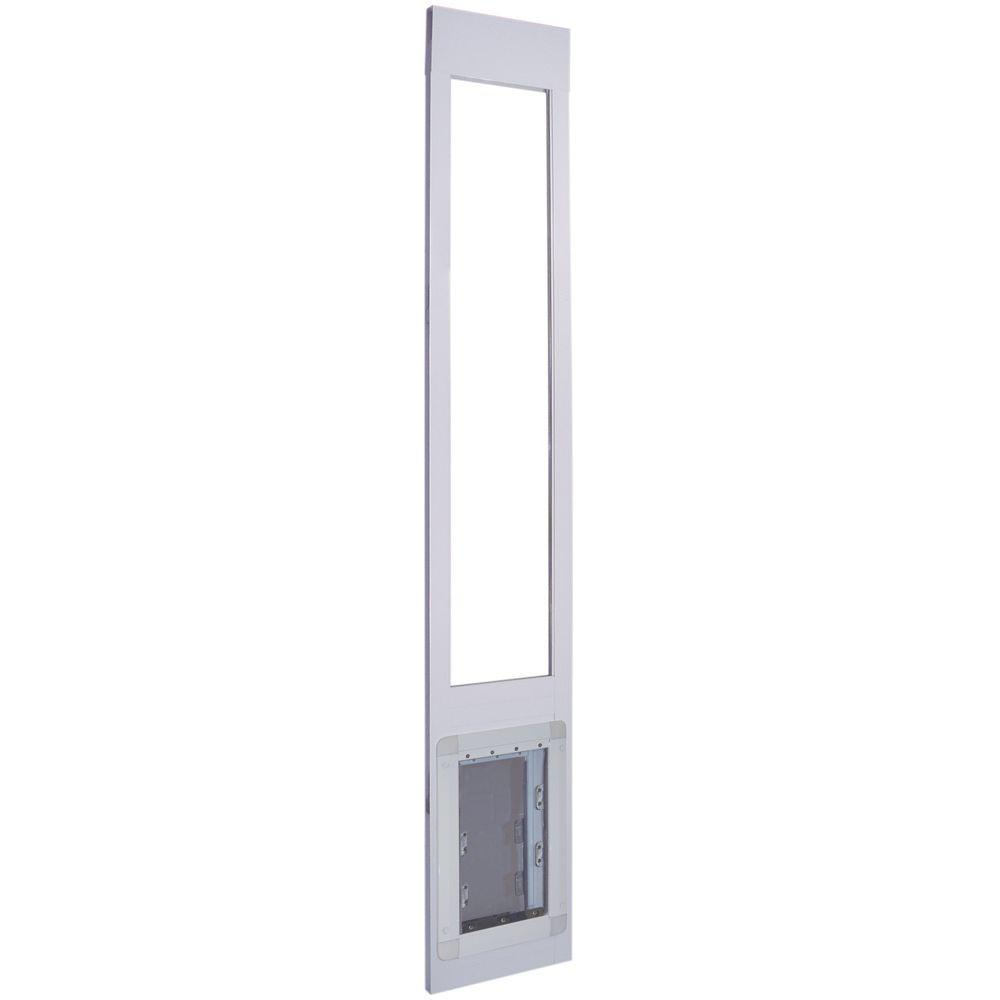 Ideal Pet 9.75 in. x 17 in. Aluminum Frame Pet Patio Door with Dual Flaps Fits 75.4 in. to 80.4 in. Tall Alum Slider-DISCONTINUED