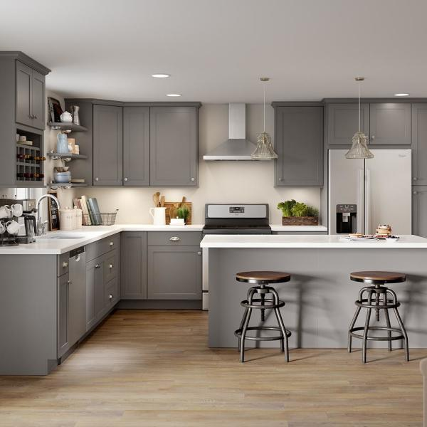 Hampton Bay Edson Shaker Assembled 12x30x12 In Wall Cabinet In Gray Cm1230w Kg The Home Depot