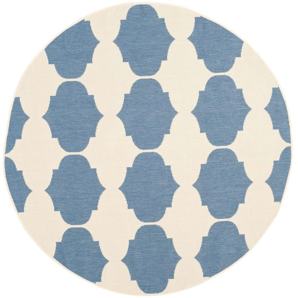 Safavieh Courtyard Beige/Blue 5 ft. 3 in. x 5 ft. 3 in. Indoor/Outdoor Round Area Rug